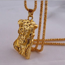 """Wholesale 14k Gold Jesus Pendant - 2016 New Iced Out JESUS Face Pendants with 32"""" Franco Rope Chain HipHop Style Necklace Gold Plating Free Shipping"""