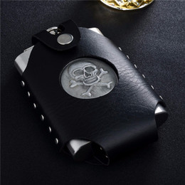 Wholesale Carry Golf Bags - Skull or Golf stainiless steel hip flask with leather bag , easy to carry on the belt ,FDA Degree