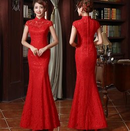 Wholesale Chinese Women Traditional Wedding Dress - Chinese Traditional Dress Long Cheongsam Chinese lace Wedding Dress Cheongsam Embroidery Qipao Red Mermaid wedding dress Gown for Women