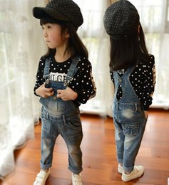 Wholesale Denim Bib Overalls Kids - 2016 New Arrival Girls Denim Overalls Brand High Quality Girls Overall Jeans Spring Autumn Kids Jumpsuit 3-9T Bib Pants