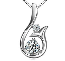 Wholesale Coral Pendant Jewelry - Top Grade Diamond Pendant Necklace Cubic Zircon 30% 925 sterling silver Little Mermaid Pendant necklace For Wedding Party Women Jewelry
