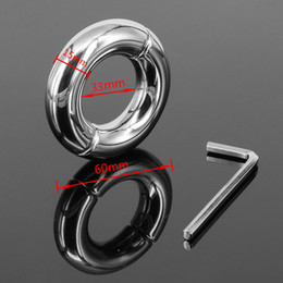 Wholesale Chastity Metal Ball - Inner Diameter 33mm Stainless Steel Scrotum Ring Metal Locking Cock Ring Ball Stretchers Penis Ring For Men Scrotum Stretcher Restraint