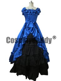Wholesale Anime Cosplay Gowns - Renaissance Gothic Reenactment Dress Ball Gown Blue Dress Cosplay Costume