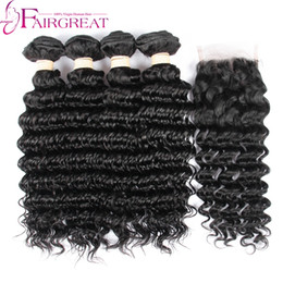 Wholesale Cheap Deep Wave Weave - Cheap Brazilian Deep Wave Virgin Hair With Closure 4pcs Brazilian Deep Wave Hair Bundles With Closure 4pcs lot Human Hair Weave With Closure