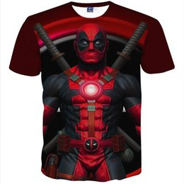 Wholesale Pink Animated - New Fashion Men's T-shirt 3d funny printed Anime Animate Characters Deadpool t shirt short Sleeve Summer tops Tees