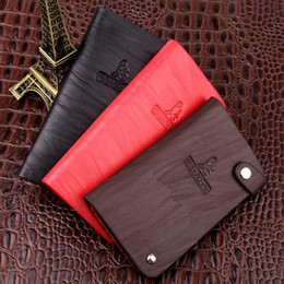 Wholesale Double Sided Credit Card Holder - Hasp Genuine Leather Unisex Card Holder Fashion Luxury Design Coin Bag women wallet Double sided Accommodate men Purse 30 Card 3 color W079