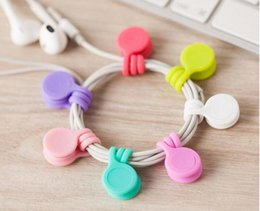 Wholesale Silicone Cable Clips - Hot Sell Multifunction Management Silicone Earphone Headphone Cord Winder USB Cable Holder Strap Magnetic Organizer Gather Clips Colorful