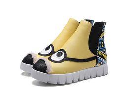 Wholesale Women S Short Leather Boots - Cute cartoon snow boots autumn and winter women 's boots thick bottom round platform shoes boots plus velvet large yards short boots cotton