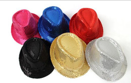 Wholesale Mens Fedoras - General Adults Women Mens Sequins Jazz Hats Fashion Sequins Dance Performance Stage Men Fedora Hat Fedoras Magic Show Caps Factory Sale