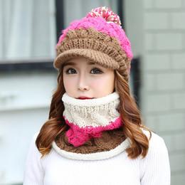 Wollkopf schals online-2017 Headwear Damen Wollmütze zweiteilige Set Collage Winter Mädchen Winterwärmer Reiten stricken Hut Kopf wärmer Winter Hüte Schals Sets