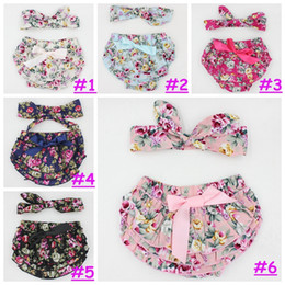 Wholesale Baby Bloomers Headbands - 2016 0-24M Baby girl flower shorts with headband summer cute style fashion infant girls print bloomer with headwear set