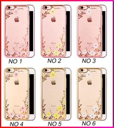 Wholesale S Plus Flower Cover - Slim Soft TPU Electroplate Flower Diamond Back Cover Case For iphone 5 SE iphone 6 6s iphone 6 plus s