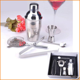 Wholesale Drink Mixer Kit - (5Pcs Set) Bar Sets Practical Stainless Steel 350ML Cocktail Shaker Mixer Drink Bartender Kit Eco-Friendly Bars Set Tools