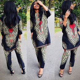 Wholesale Women Straight Elegant Black Pants - 2017 African women fashion designed 2 Piece Sets Outfits Elegant boho print Dashiki clothing Casual Straight Long Tops + Full Length Pants
