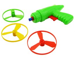 Wholesale Wood Toy Guns - free shipping whilesale Outdoor toys flying saucer gun flywheel gun pistol toy bamboo dragonfly 80 nostalgic children's toys free shipping