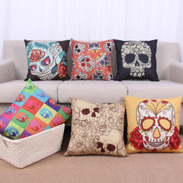 Wholesale Bones Pillow - 45cm Colorful Cool Skulls Bones Cotton Linen Fabric Throw Pillow 18inch Fashion Hotal Office Bedroom Decorate Sofa Chair Cushion