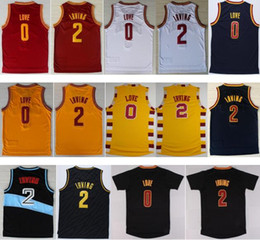 Wholesale White Navy Uniforms - 2016 Men 2 Kyrie Irving Jersey Rev 30 New Material 0 Kevin Love Shirt Uniform Fashion Trowback Red White Yellow Black Navy Blue Best Quality