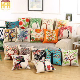 Wholesale Office Linens - 45*45Cm Sofa Cushions Cushion Cover Pillow Cases Living Room Office Linen Pillow Covers Backrest Cartoon Pattern Gifts Home Decoration