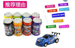 Wholesale Toys Electric Motor Car - 60Pcs Hot Selling Mini Coke Can RC Radio Remote Control Micro Racing Car Hobby Vehicle Toy Christmas Gift Free DHL Shipping