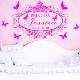 Wholesale Princesses Sticker - Customer-made Personalised Name Princess Crown Butterfly Wall Art Sticker Girls Kids Bedroom Wall Decals Home Decor WS317