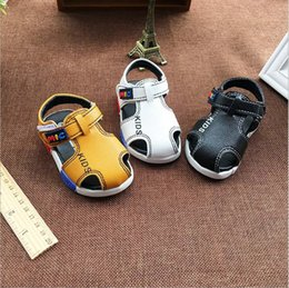 Wholesale Boy Shoes Retail - Wholesale and retail 2016 new summer toddler sandals shoes baby boy soft bottom anti-slip 14-18 White black yellow 3 colors