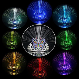 Wholesale Hair Color Ball - PrettyBaby Fiber Optic Butterfly Fairy Stick Plastic Crown Headband Wand Neon Prom Girls Headdress Bar Ball Party Decoration Flash Light