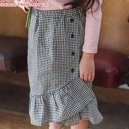 Wholesale Girls Tutu Skirts Patterns - New Big Girls Skirt Short Dress Plaid pattern Skirts Buttons Children Clothing Girl's Skirts Ruffle Edge Gird Kid Girl Mini Dresses A7549
