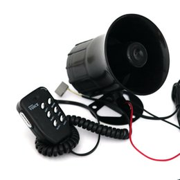 Wholesale Auto Alarm Speaker - Motorcycle Car Auto Loud Air Horn 125dB Siren Sound Speaker Megaphone Alarm Van Truck Boat 30w 12v Six-tone Modification Parts <$18 no track