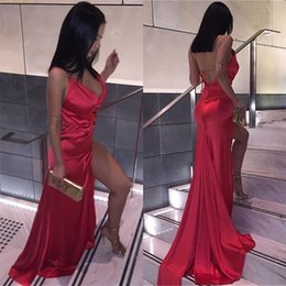 Wholesale Plain Side - Cheap 2017 Sexy Backless Red Split Evening Party Dresses Sheath V Neck Plain Simple Satin Long Prom Gowns