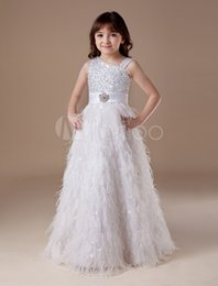Wholesale Cute Round Collar Dress - 2016 New Romantic White Net Round Collar Cute Sash Crystai Floor Length Little Girl's Pageant Dresses Wedding Party Kids Brithday Dresses