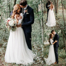 Wholesale Cheap Flower Robes - Long Sleeves Country Wedding Dresses Plus Size Vintage Lace Top Chiffon Cheap V-Neck Backless Bridal Gown With Sweep Train robe de mariée