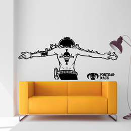 Wholesale Japanese Cartoon Art - Ace One Piece Luffy Wall Sticker Car Wall Stickers Japanese Decal Vinyl Decal Sticker Home Decoration 52*120 cm   25*57 cm
