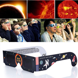 Wholesale frames papers - American Solar Eclipse Glasses Multicolor Paper Frame Viewer Safe Glasses Protect Eyes to See Solar Eclipse OTH024