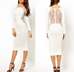 Wholesale Sexy Party Tunic Tops - Top Quality Open Back Lace Long Sleeve Midi Dress Plus size XXL Bandage Slim Elegant White Black Sexy Office Party Tunics Gowns