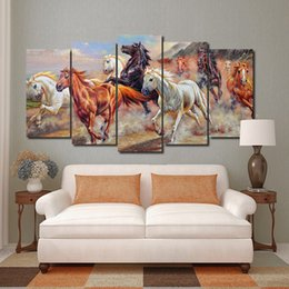 Wholesale Horse Art Canvas Set - 5pcs set Wall Art Picture Running Horses Oil Painting Style Spray Painting on Canvas Unframed Landscape Print Wholesale Home Decoration