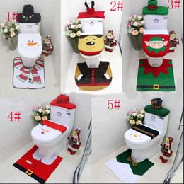 Wholesale Toilet Ornaments - 3pcs set Happy Santa Toilet Seat Cover & Rug Snowman elf Bathroom Set elk Christmas Decorations For Home Christmas Ornament