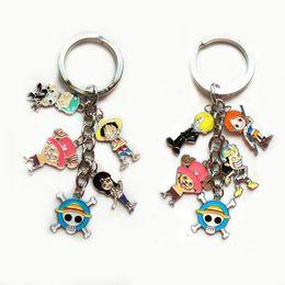 Wholesale One Piece Key Ring - New Popular Keychain 10Set lot Monkey D Luffy Nico Robin Nami Anime One Piece Color Metal Figure Pendants Keychain Key Ring