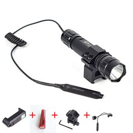 Wholesale Led Tactical Flashlight Pressure Switch - WF 501B Tactical Flashlight XML T6 LED Torch Lamp 2000 Lumens Lantern with Mount and Remote Control Pressure Switch