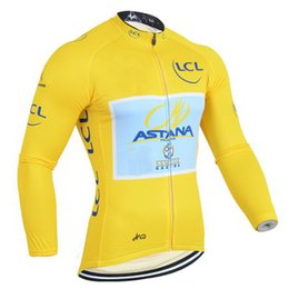 Jersey tour francia amarillo online-INVIERNO FLEECE TERMAL 2014 ASTANA PRO TEAM YELLOW Tour de France TQQ SOLO MANGA LARGA CICLISMO TAMAÑO: XS-4XL