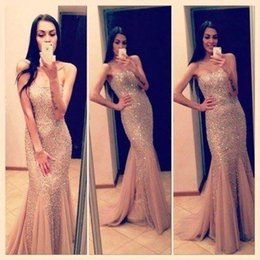 Wholesale Sweetheart Roses Prom Dresses - Shining Sequins Mermaid Prom Gowns 2016 Rose gold Sweetheart Sleeveless Floor Length Long Formal Evening dresses for Special Occasion