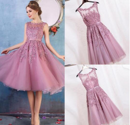 Wholesale Lace Cocktail Dresses Applique Short Red in Bulk from ...