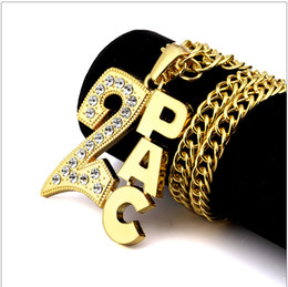 Wholesale Rhinestone Slide Letter Gold - 80cm Twisted Long Chains Necklaces Shiny Rhinestone 2PAC Letters Pendant Hipsters NightClub Hip Hop Bijoux For Men Women Gold Silver