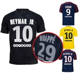 Wholesale Blue Paris - 2017 2018 Mbappe NEYMAR JR jerseys thai quality soccer jersey PARIS 3RD CAVANI VERRATTI CAVANI DI MARIA DANI ALVES black football shirts