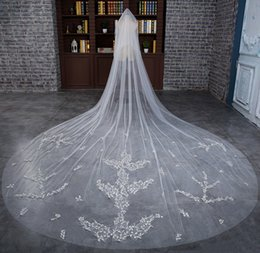 Wholesale Headdress Cathedral Veil - 2017 Glisten new White 3 meters double net Muslim decals bride veil headdress accessories with comb cheap shipping