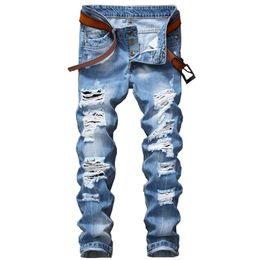 Wholesale Button Holes - Autumn Designer Men's Ripped Jeans Pants Slim Fit Light Blue Denim Joggers Male Distressed Destroyed Trousers Button Fly Pants