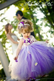 Wholesale Cheap Christening - 2017 New Cute Princess Purple Tulle Flower Girls' Dresses Hand Made Flower Puffy Cheap Little Girl Dresses In Stock MC0194