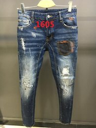Wholesale Green Bleach - 2017 New Style Men's Denim Jean Embroidery Pants Holes Jeans Button Trousers Mixed Order! New Model 1605-1663