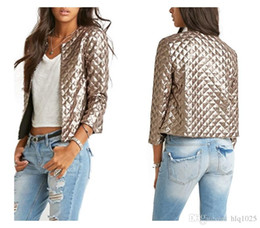 Wholesale Vogue Spring Jacket - 2016 Brand Women Gold Sequins Jackets New Spring Style Vogue Lozenge Three quater sleeve Fashion Coats Outwears free shipping