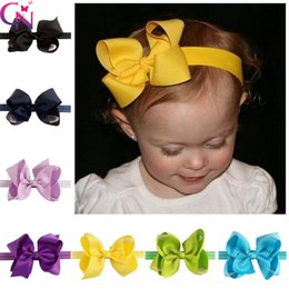 Wholesale Infant Girl Hair Bows - Toddler Baby Nylon Headband With 4 Inch Hair Bow Infant Elastic Hairbands Baby Girl Headband 24 Colors