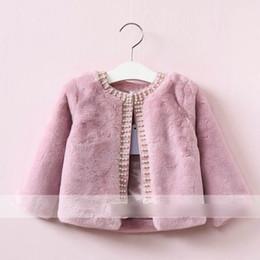 Wholesale Girls Cardigans Pearls - Fashion New Girls Coats Autumn Winter Princess Clothing Coat Pearl cardigan Coat Tops Plush Fur Cotton Soft Coat Chocolate Beige Pink A7523